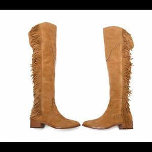 New Frye fringe Suede Leather Boots Knee high 6.5